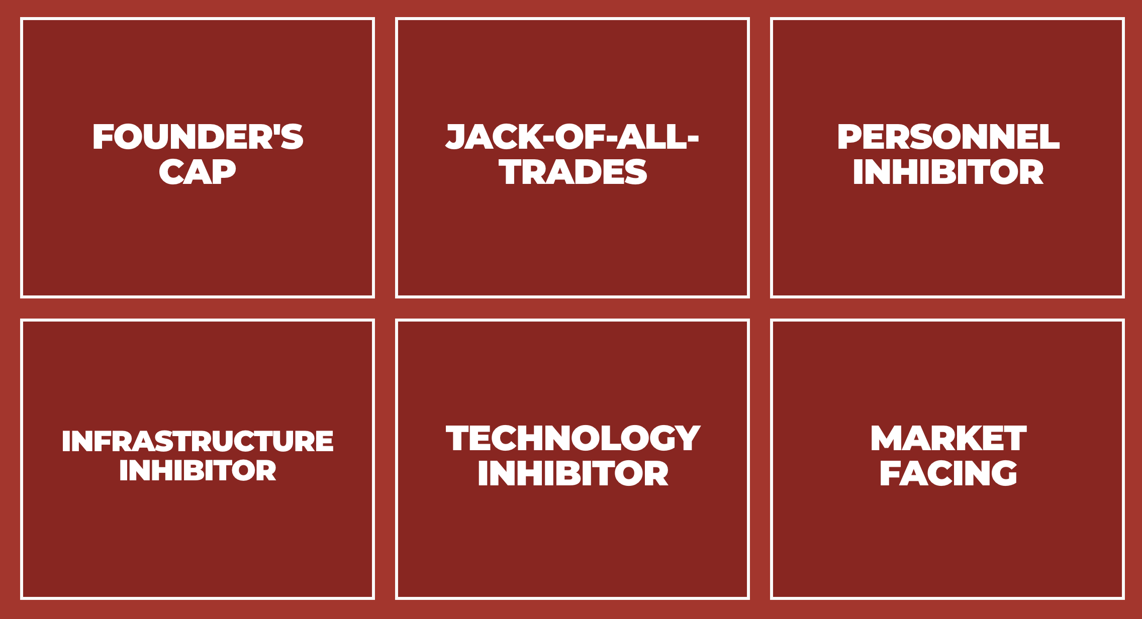 Founder's Cap, Jack-of-all-trades, Personnel Inhibitor, Infrastructure Inhibitor, Technology Inhibitor, Market Facing